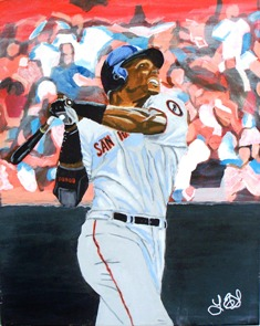 Barry Bonds - Acrylic painting on 18 x 24 canvas.